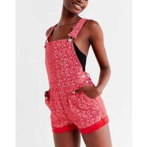 Red paisley denim overall shorts